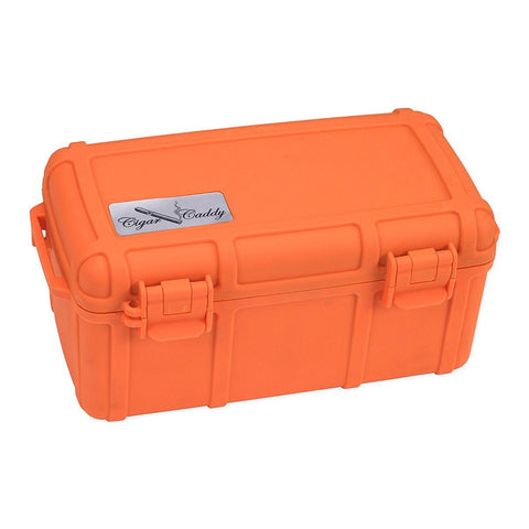 Image of Cigar Caddy Orange Travel Humidor - 15 Cigar Rubber Coated Plastic Water Resistant - Shades of Havana