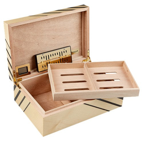 Gurkha Art Deco Humidor Series - Striped Humidor 50 Cigar Count - Shades of Havana