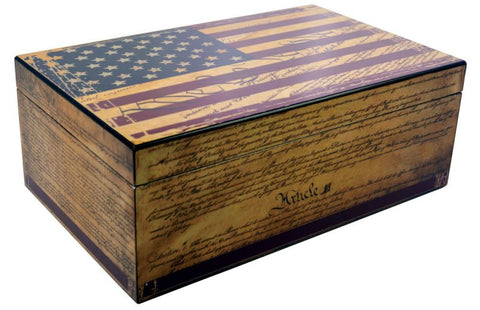 Image of Humidor Supreme Constitution American Flag - 100 Cigar Capacity