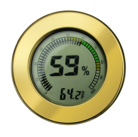 Round Digital Hygrometer / Multi Color Gauge & Calibration (Polished Gold) - Shades of Havana