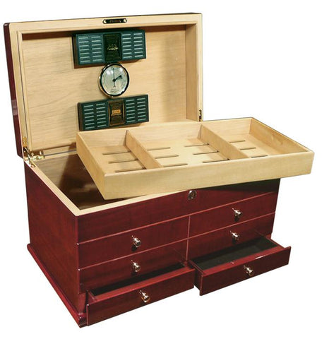 LANDMARK - High Gloss Lacquer Cherry Humidor - Holds 300 Cigars - w/ Drawers - Shades of Havana