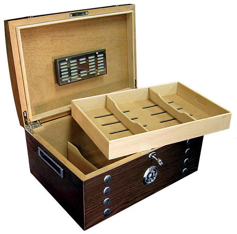 Image of Montgomery 150 Cigar Count Humidor Chest | Lacquer Studded - Shades of Havana