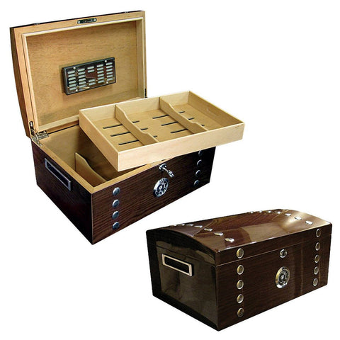 MONTGOMERY - Lacquer Studded Chest - Holds 150 Cigars - With Tray & Polished Hardware - Shades of Havana
