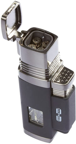 Image of Moretti Churchill Quad Flame Butane Torch Cigar Lighter w/ Punch Cutter