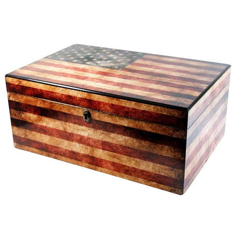 Image of Old Glory American Flag Antique Humidor 100 Cigar Count - Shades of Havana