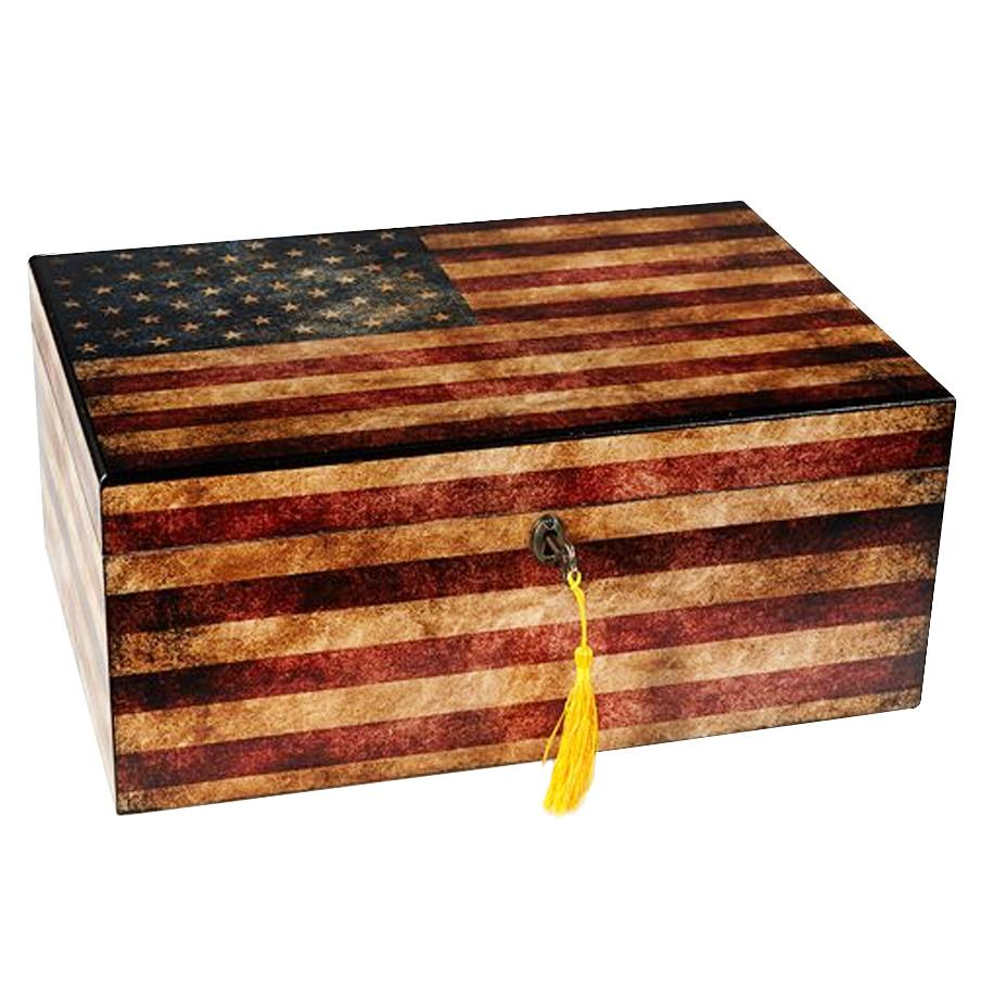Old Glory American Flag Antique Humidor 100 Cigar Count - Shades of Havana