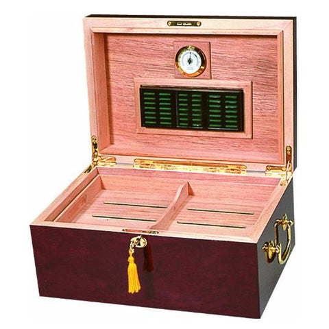 Image of Alhambra High Gloss Maple Humidor - 100 Cigar Capacity - Shades of Havana