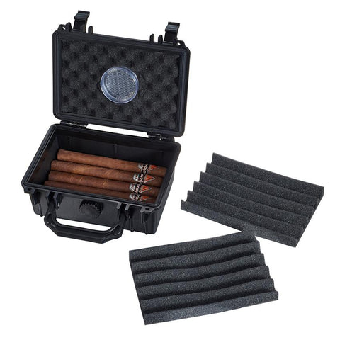 Image of Ryder Hard Plastic Travel Cigar Humidor 15 Cigar Count - Shades of Havana
