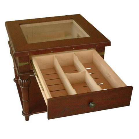 Image of Scottsdale Glass Top End Table Humidor | 300 Cigar Count - Shades of Havana