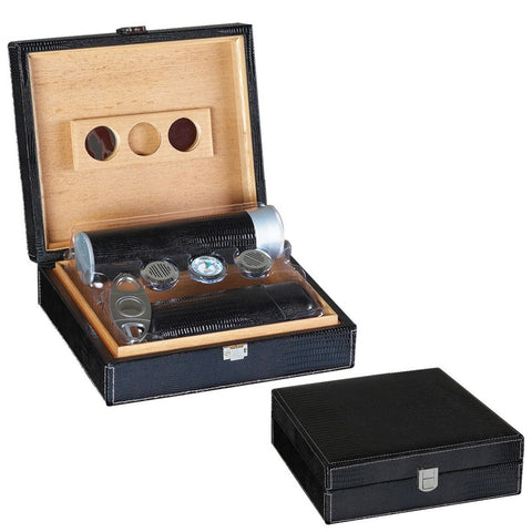 ALLIGATOR - Black Leather Humidor - Gift Set - Holds 25 Cigars - 2 Humidifiers & Hygrometer - With Matching Accessories - Shades of Havana