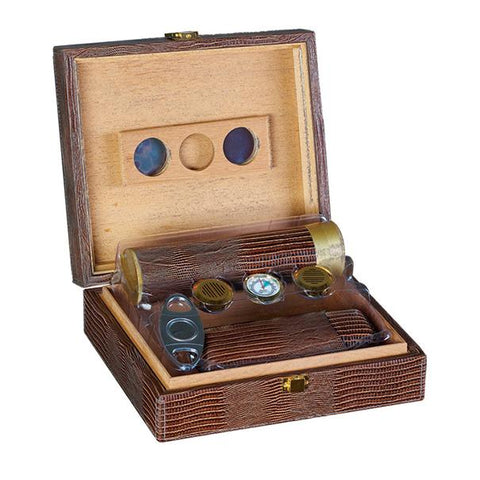 Image of Alligator Brown Leather Humidor Kit - 25 Cigar Capacity - Shades of Havana