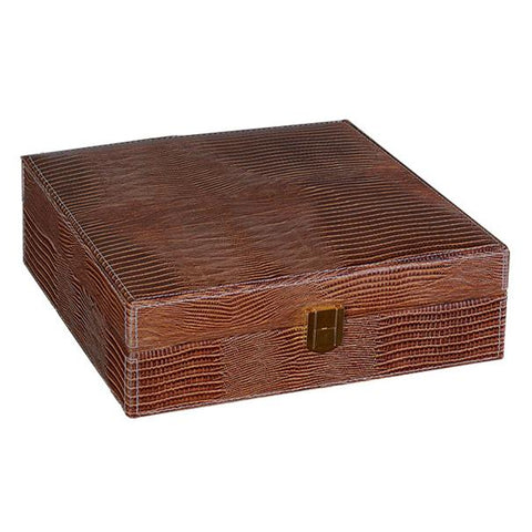 ALLIGATOR - Brown Leather Humidor - Gift Set - Holds 25 Cigars - 2 Humidifiers & Hygrometer - With Matching Accessories - Shades of Havana