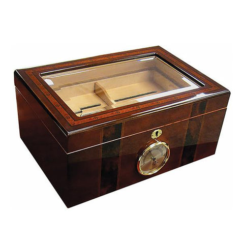 AMBASSADOR - Cigar Humidor - Beveled Glass Top - 100 Cigars - Humidifier - With External Hygrometer - Shades of Havana