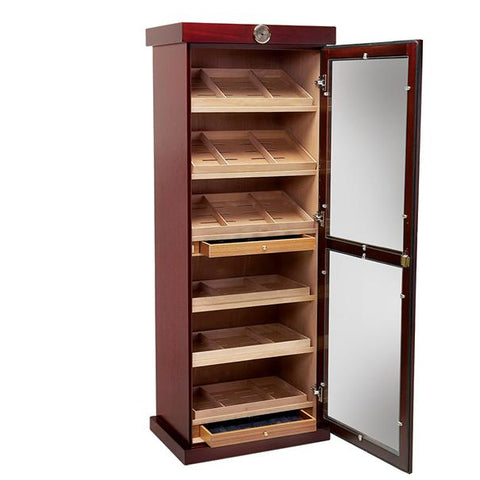BARBATUS - Cigar Humidor Cabinet - Holds 2000 Cigars - Cherry Finish - 12 Humidifiers - Built In External Hygrometer - Shades of Havana