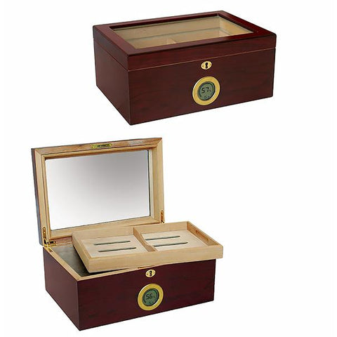 BERKELEY DIGITAL - Cigar Humidor - Cherry Finish & Glass Top - Holds 100 Cigars - With External Digital Hygrometer - Shades of Havana