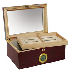 Berkeley Digital Cigar Humidor - Cherry Finish & Glass Top - 100 Cigars - Prestige Imports