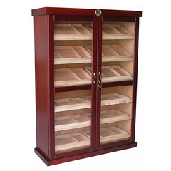 BERMUDA - Cigar Humidor Cabinet - Holds 4000 Cigars - Cherry Wood Finish - 24 Humidifiers - Built In External Hygrometer - Shades of Havana