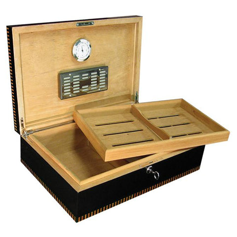 BRYNMOR -  Black Lacquer Finish - Holds 120 Cigars - With Tray & Polished Hardware - Shades of Havana
