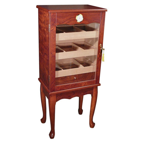 BELMONT - Cabinet Humidor - Bronze Mahogany Finish - Holds 600 Cigars - With Glass Door on Legs - Shades of Havana