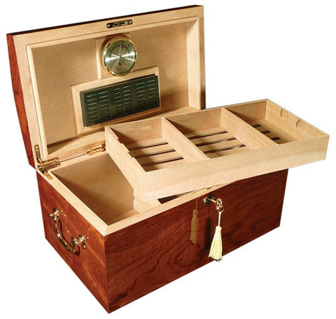 BROADWAY - Burl Wood Finish Humidor - High Gloss Lacquer - Holds 150 Cigars - With Arched Top - Shades of Havana