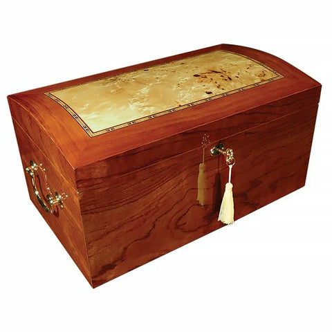 Broadway 150 Cigar Count Glass Top Humidor | Burl Wood Finish - Shades of Havana