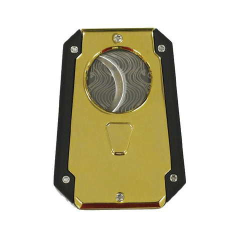 Colossus Wing Style Dual Blade Cigar Cutter - Spring Loaded Gold
