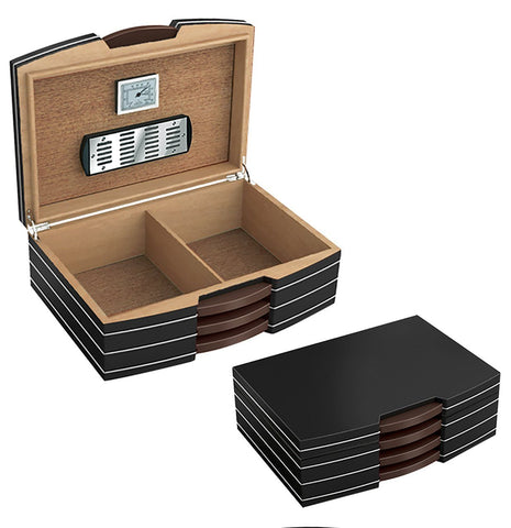 Image of Carlton Black Medium Humidor 100 Cigar Capacity - Shades of Havana