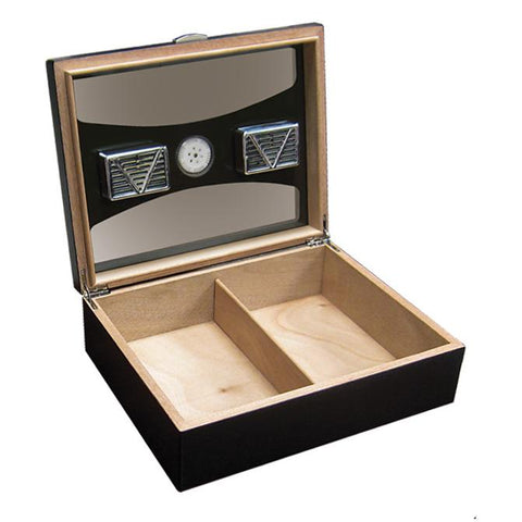 DELANO - Black Humidor - Holds 100 Cigars - UV Reflective Glass - With External Hygrometer - Shades of Havana