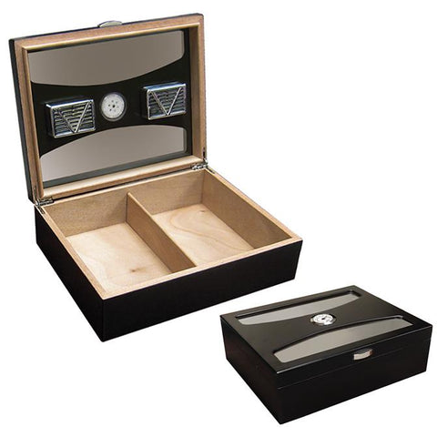 Delano - Black Humidor - 100 Cigars - UV Glass - Prestige Imports - Shades of Havana