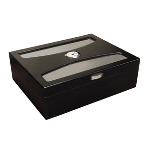 Delano Black Glass Top Humidor 100 Cigar Count | UV Glass - Shades of Havana