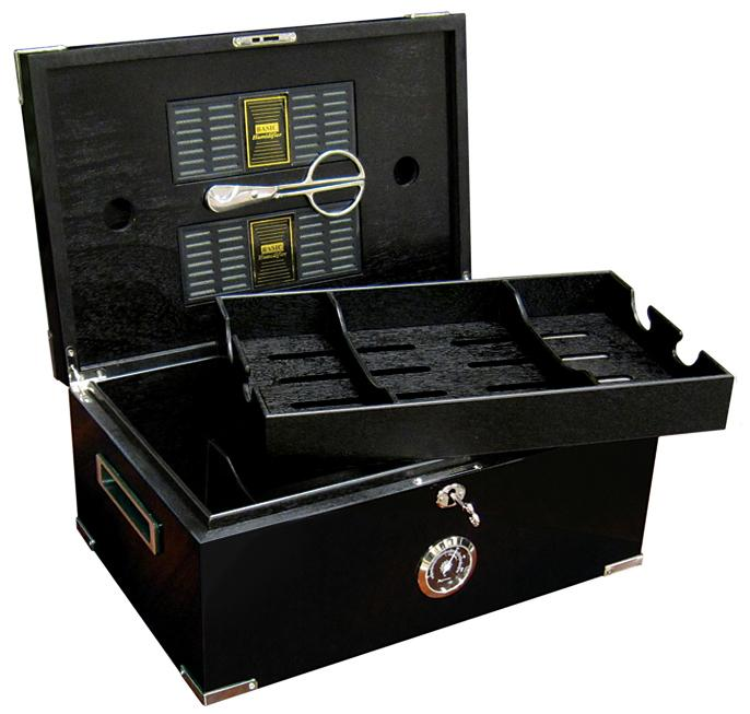 Dakota Black Humidor 120 Cigar Count | Polished Hardware - Shades of Havana
