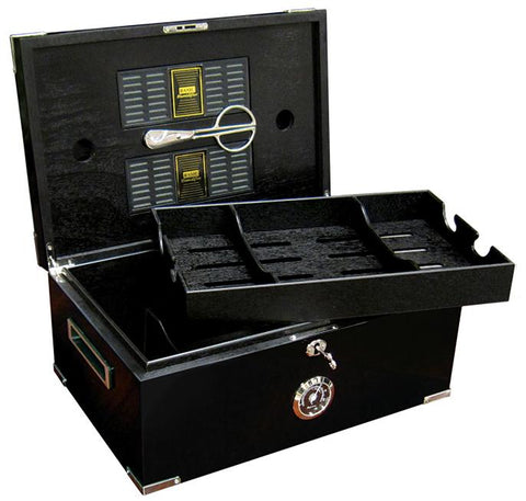 Image of Dakota Black Humidor 120 Cigar Count | Polished Hardware - Shades of Havana