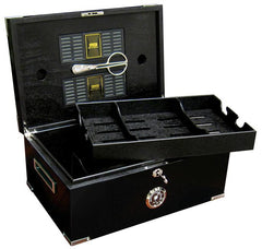Dakota - Black Humidor - 120 Cigars - Polished Hardware - Prestige Imports
