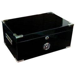 DAKOTA - Deep Black Humidor - Holds 120 Cigars - With Scissors & Polished Hardware - Shades of Havana