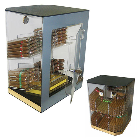 FRANKLIN - Acrylic Display Cigar Humidor Cabinet - Holds 150 Cigars - Humidifier & Hygrometer - Retail Cabinet - Shades of Havana