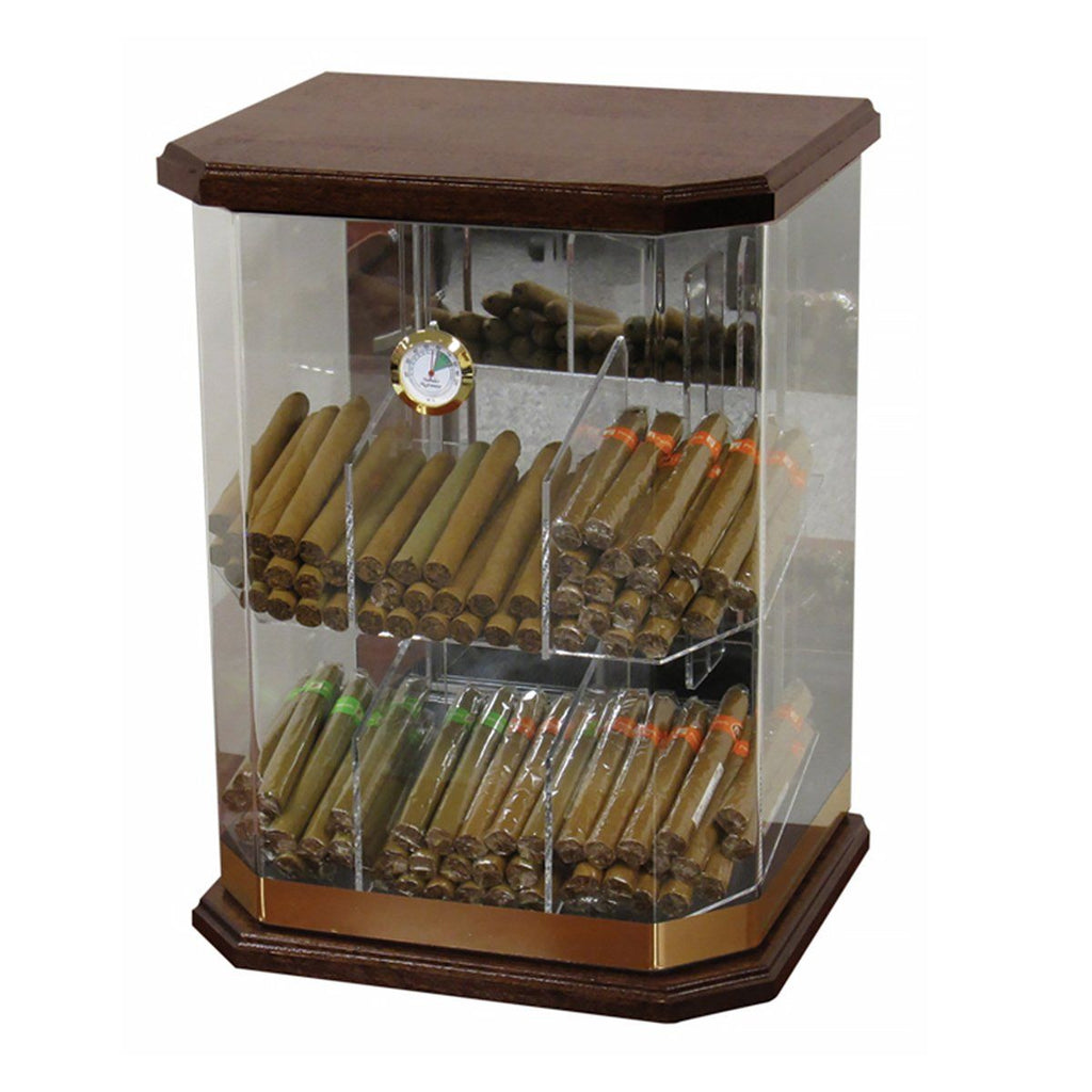 Franklin Wood Acrylic Humidor Cabinet - 150 Cigar Count Commercial - Shades of Havana