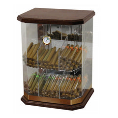 FRANKLIN WOOD - Acrylic Display Cigar Humidor Cabinet - Holds 150 Cigars - Humidifier & Hygrometer - Retail Cabinet - Shades of Havana