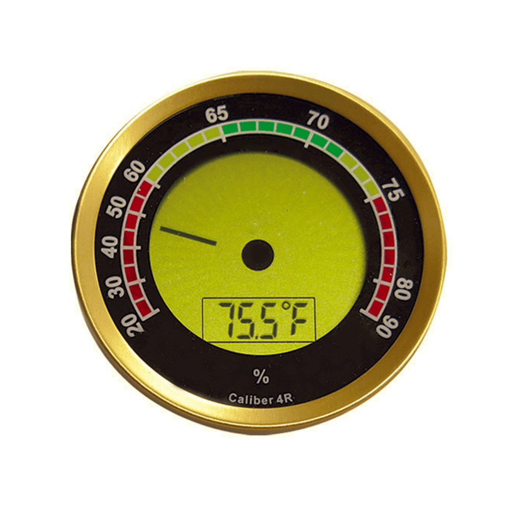 Gold Round Digital Hygrometer - With Calibration Feature (Gold) - Shades of Havana