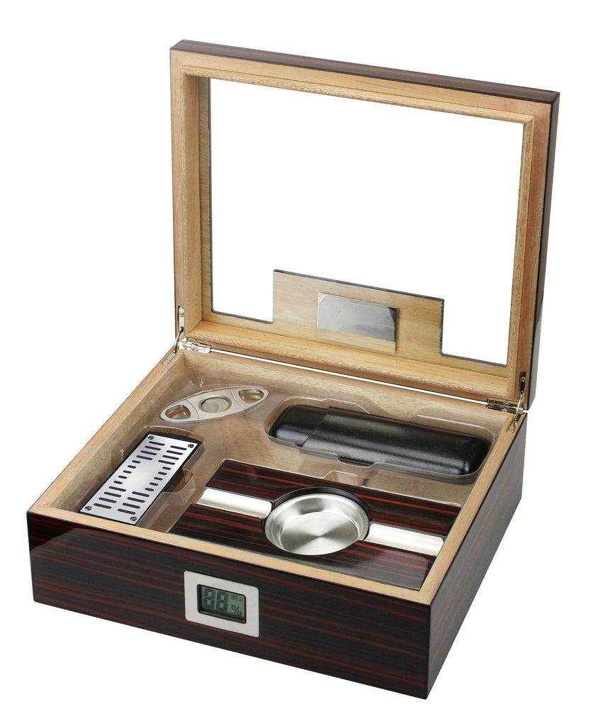 Kensington Electronic Glass Top Humidor Kit | 75 Cigar Count - Shades of Havana