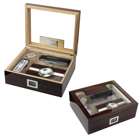KENSINGTON - Cherry Ebony Lacquer Humidor Gift Set - Holds 75 Cigars - With External Digital Hygrometer - Shades of Havana