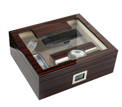 Image of Kensington - Cherry Ebony Humidor Gift Set - 75 Cigars - Prestige Import