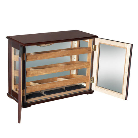 MARCIANO - Cigar Humidor Cabinet - Holds 250 Cigars - Countertop Display - Dark Mahogany - 6 Dividers - Shades of Havana