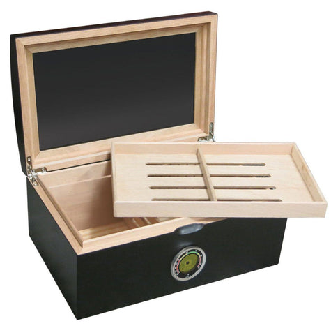 Portofino Glass Top Black Humidor 120 Cigar Count