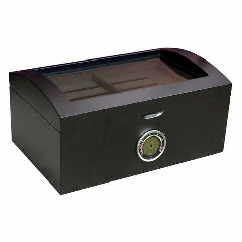 Portofino Glass Top Black Humidor 120 Cigar Count - Shades of Havana