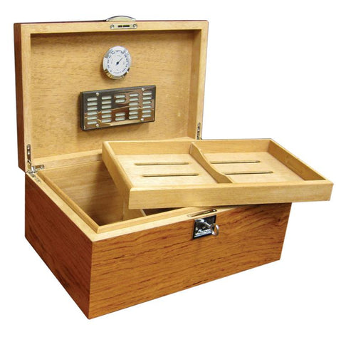 PRINCETON BUBINGA - Lacquer Bubinga Finish - Holds 130 Cigars - With Tray & Polished Hardware - Shades of Havana
