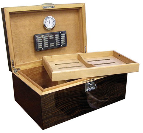 PRINCETON EBONY - Lacquer Ebony Finish Humidor - Holds 130 Cigars - With Tray & Polished Hardware - Shades of Havana