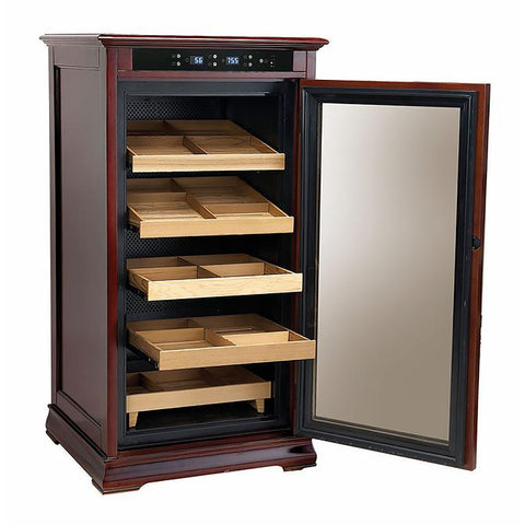 REDFORD - Cigar Humidor Cabinet - Holds 1250 Cigars - Dark Cherry Finish - Electric Climate & Humidity Controlled Cabinet - Shades of Havana