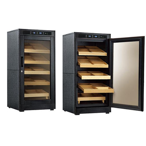 REDFORD LITE - Cigar Humidor Cabinet - Holds 1250 Cigars - Black Oak Finish - Electric Climate & Humidity Controlled Cabinet - Shades of Havana