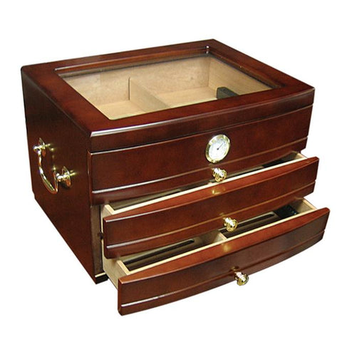 REGENT - Cigar Humidor - Dark Mahogany Finish - Glass Top - Holds 75 Cigars - 3 Humidifiers - With 3 Drawers - Shades of Havana