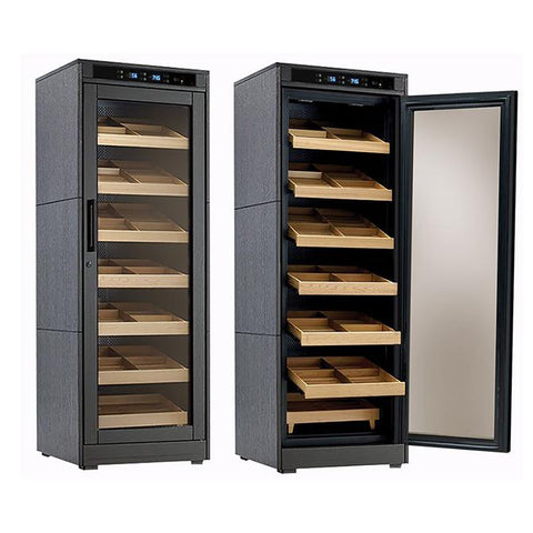 REMINGTON LITE - Cigar Humidor Cabinet - Holds 2000 Cigars - Black Oak Finish - Electric Climate & Humidity Controlled Cabinet - Shades of Havana
